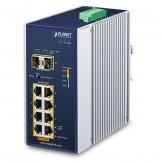 IGS-1020PTF-12V Planet IP30 Промышленный неуправляемый коммутатор 8-Port 10/100/1000T 802.3at PoE + 2-Port 100/1000X SFP  with 12V Booster